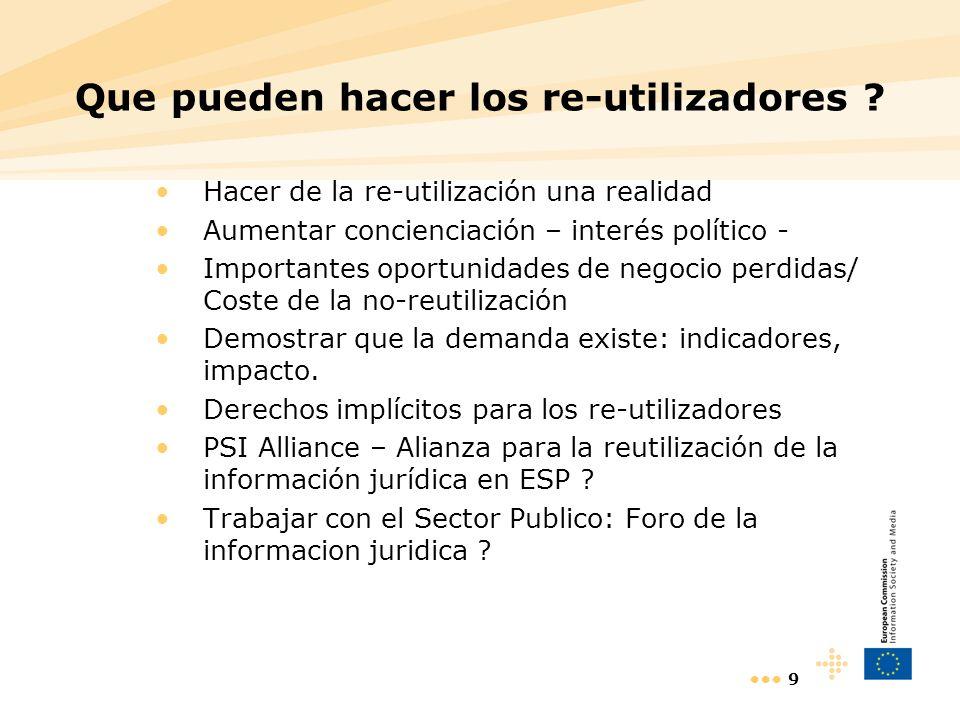 9 Que pueden hacer los re-utilizadores ? Hacer de la re-utilización una realidad Aumentar concienciación – interés político - Importantes oportunidade