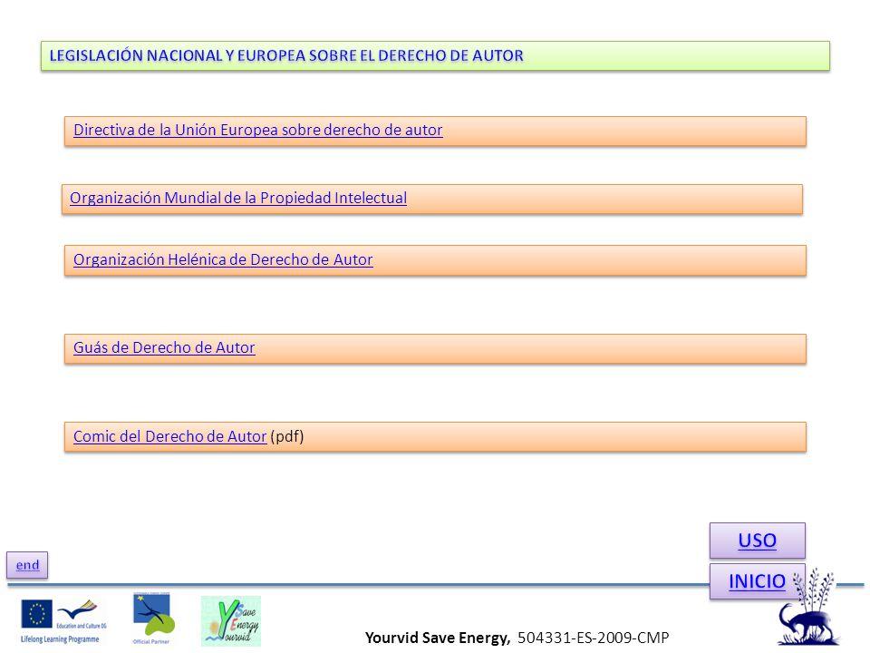 Yourvid Save Energy, 504331-ES-2009-CMP Directiva de la Unión Europea sobre derecho de autor Organización Helénica de Derecho de Autor Guás de Derecho