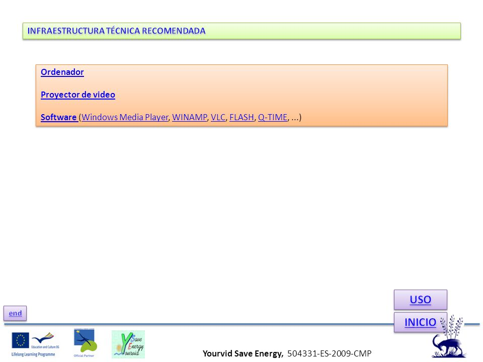 Ordenador Proyector de video Software Software (Windows Media Player, WINAMP, VLC, FLASH, Q-TIME,...)Windows Media PlayerWINAMPVLCFLASHQ-TIME Ordenado