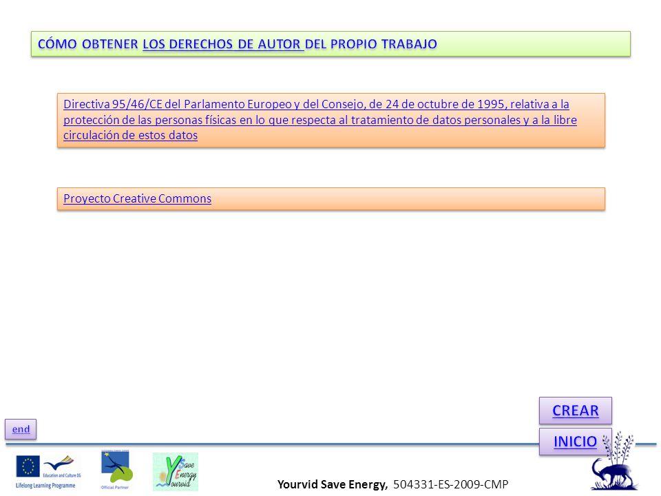 Yourvid Save Energy, 504331-ES-2009-CMP Directiva 95/46/CE del Parlamento Europeo y del Consejo, de 24 de octubre de 1995, relativa a la protección de