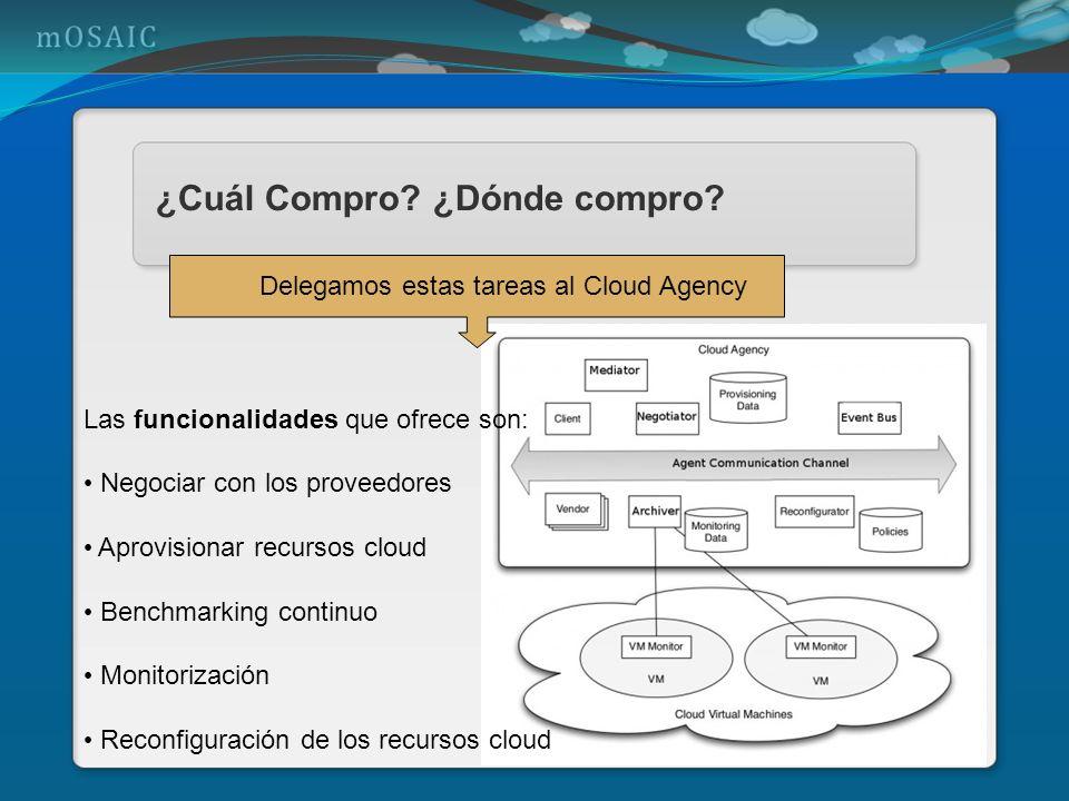 ¿Cuál Compro? ¿Dónde compro? Delegamos estas tareas al Cloud Agency Las funcionalidades que ofrece son: Negociar con los proveedores Aprovisionar recu