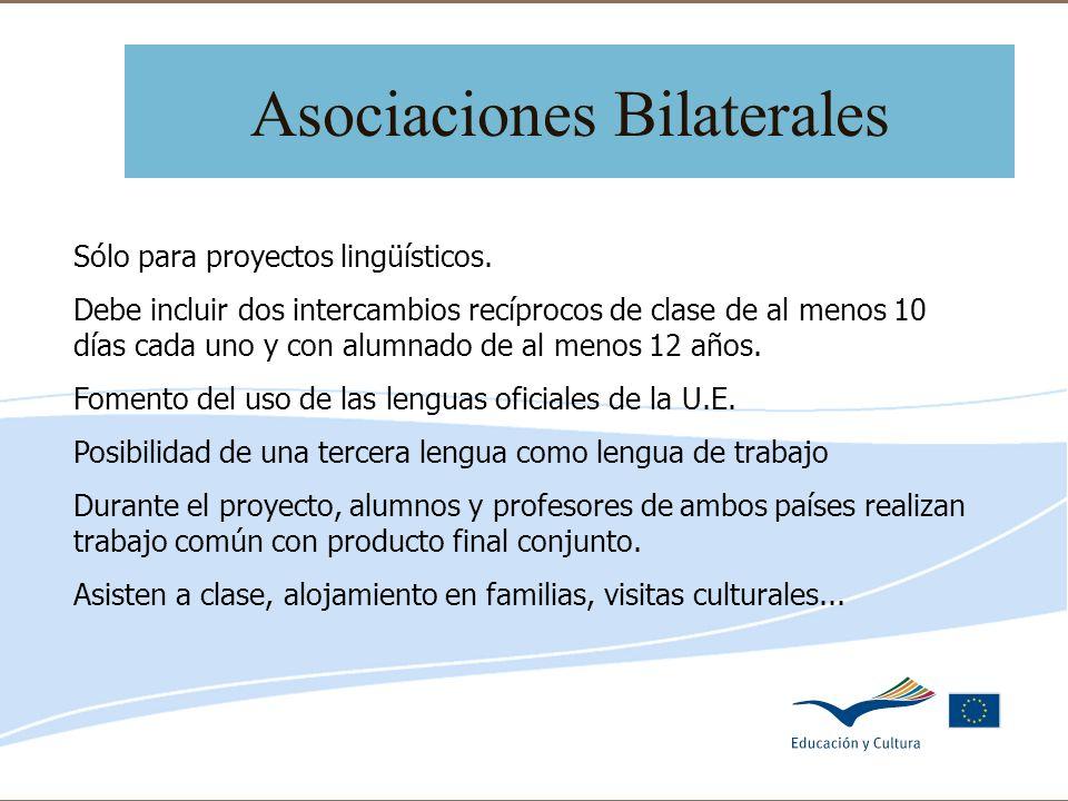 Delegación de Educación de Córdoba Asociaciones Bilaterales Sólo para proyectos lingüísticos. Debe incluir dos intercambios recíprocos de clase de al