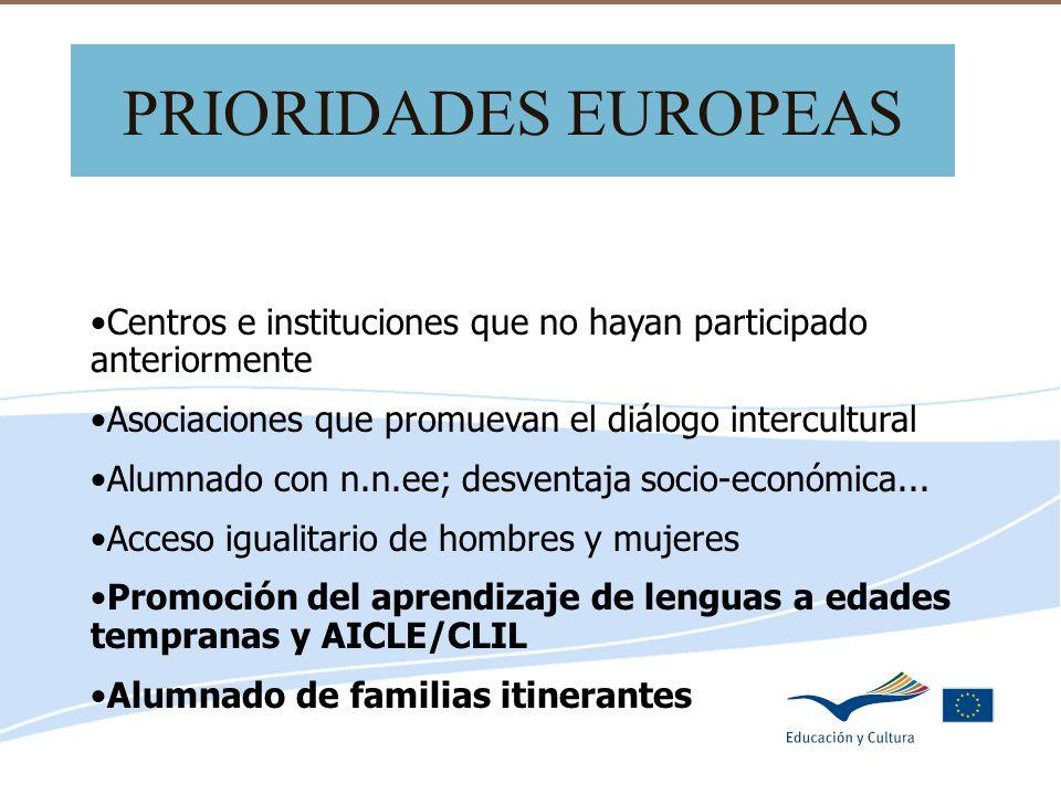 Delegación de Educación de Córdoba PRIORIDADES EUROPEAS Centros e instituciones que no hayan participado anteriormente Asociaciones que promuevan el d