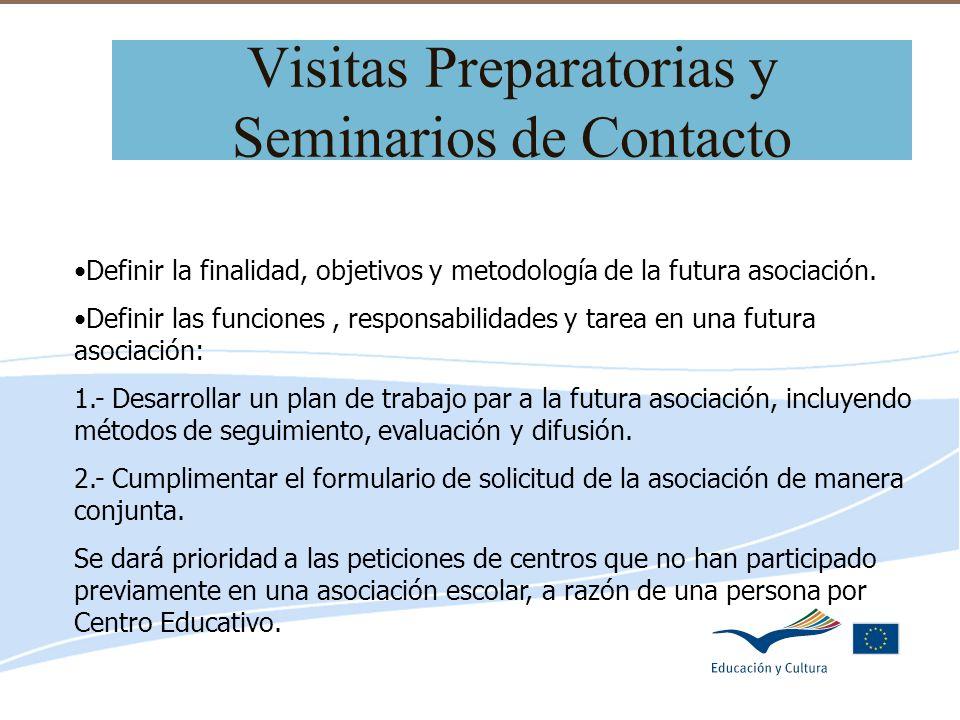 Delegación de Educación de Córdoba Visitas Preparatorias y Seminarios de Contacto Definir la finalidad, objetivos y metodología de la futura asociació