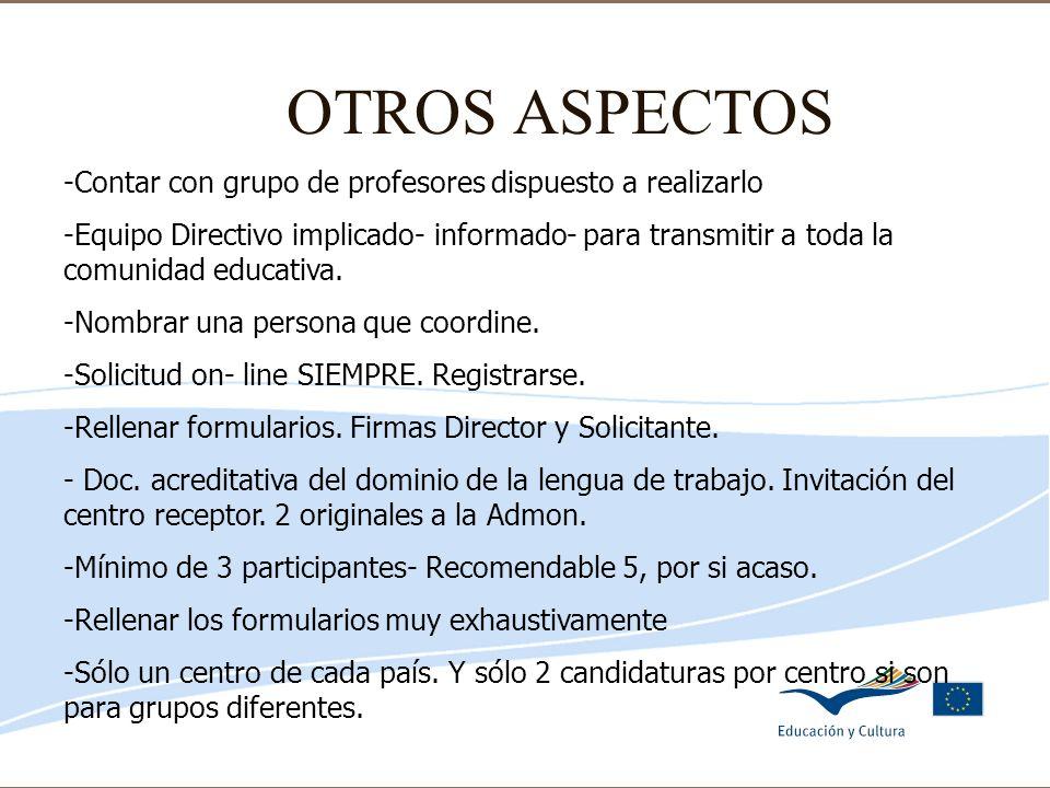 Delegación de Educación de Córdoba OTROS ASPECTOS -Contar con grupo de profesores dispuesto a realizarlo -Equipo Directivo implicado- informado- para
