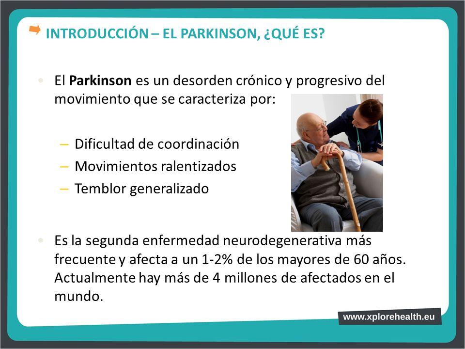 El Parkinson es un desorden crónico y progresivo del movimiento que se caracteriza por: – Dificultad de coordinación – Movimientos ralentizados – Temb