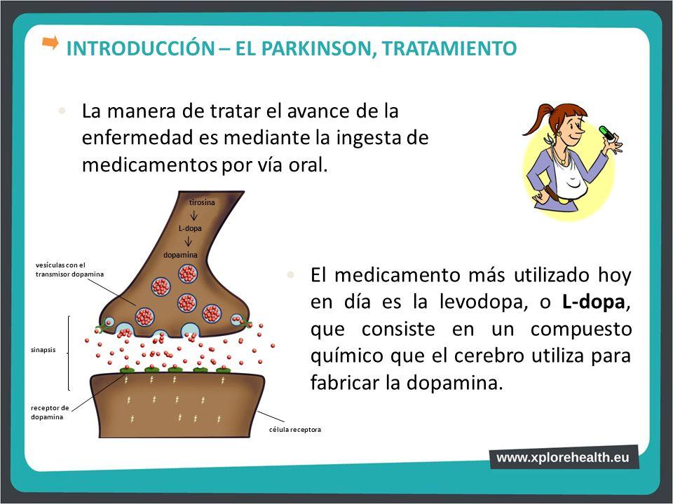 La manera de tratar el avance de la enfermedad es mediante la ingesta de medicamentos por vía oral. El medicamento más utilizado hoy en día es la levo