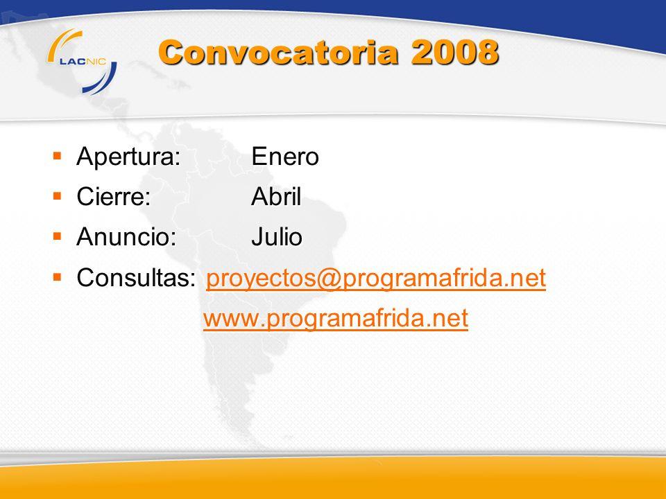 Convocatoria 2008 Apertura: Enero Apertura: Enero Cierre: Abril Cierre: Abril Anuncio: Julio Anuncio: Julio Consultas: proyectos@programafrida.net Con