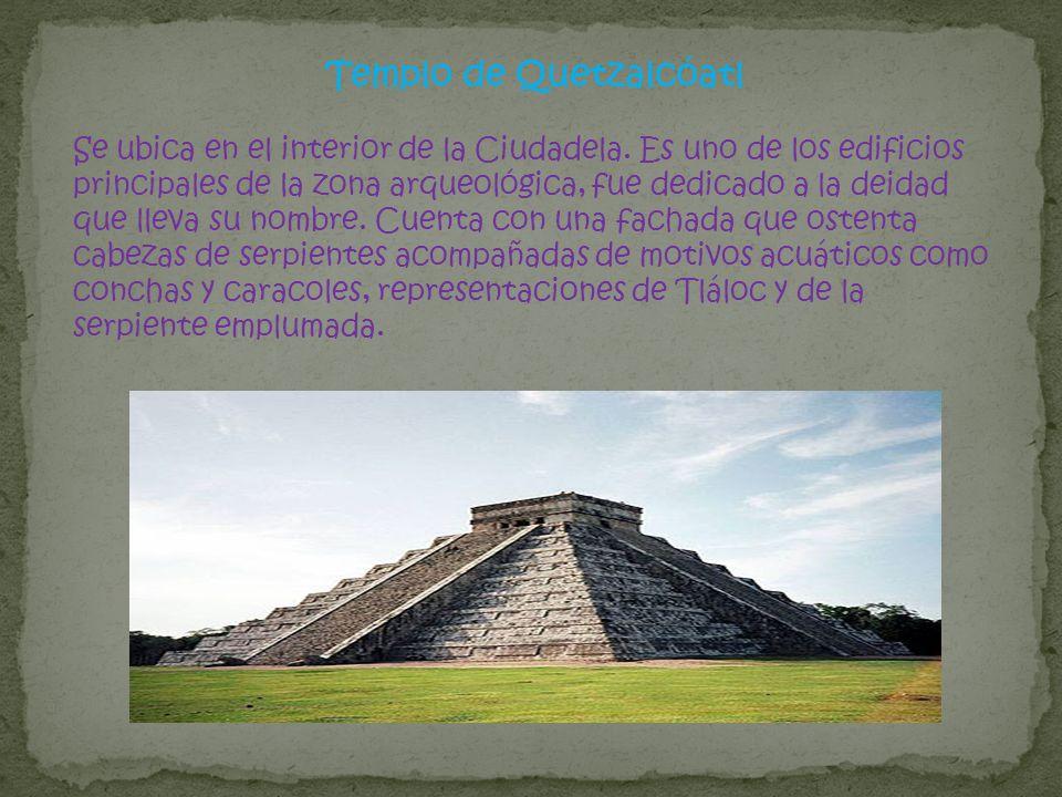 Templo de Quetzalcóatl Se ubica en el interior de la Ciudadela. Es uno de los edificios principales de la zona arqueológica, fue dedicado a la deidad