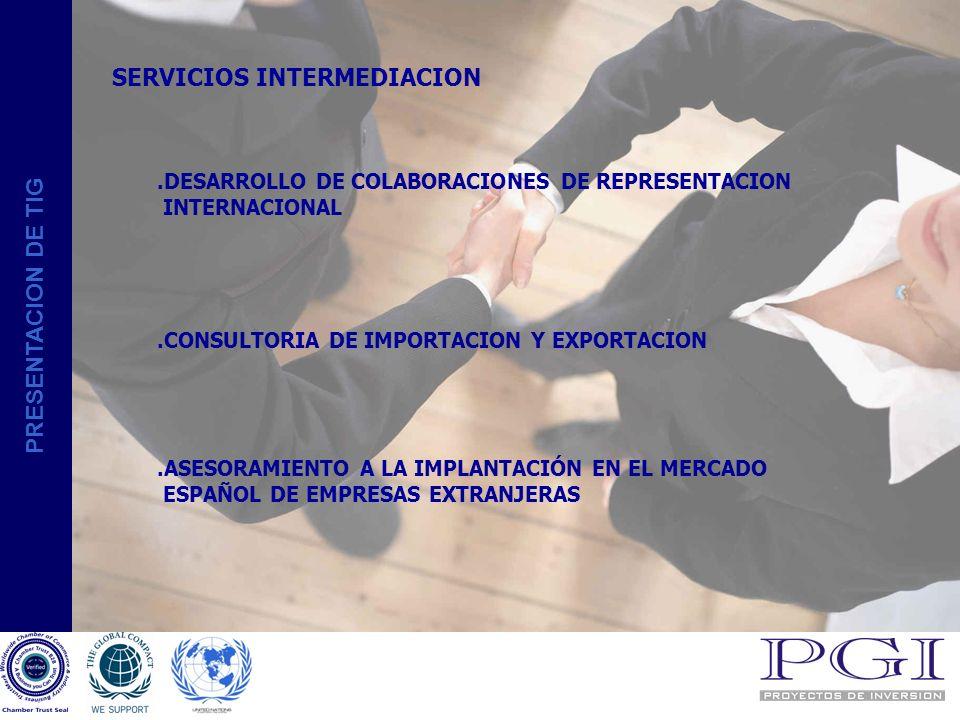 PRESENTACION DE TIG SERVICIOS INMOBILIARIOS:.BUSQUEDA Y SELECCIÓN DE INVERSIONES INMOBILIARIAS FASE INICIAL.- TERRENOS CON CALIFICACION DE URBANIZABLES FASE DE CONSTRUCCIÓN.- CONSTRUCCIONES SIN TERMINAR FASE DE COMERCIALIZACIÓN.- CON CERTIFICADO HABITABILIDAD.OTROS SERVICIOS INTERPRETACIÓN DE TODAS LAS ACTIVIDADES REPRESENTACIÓN LEGAL EN ESPAÑA INTERVENCIÓN ANTE LAS AUTORIDADES U ORGANISMOS NACIONALES.