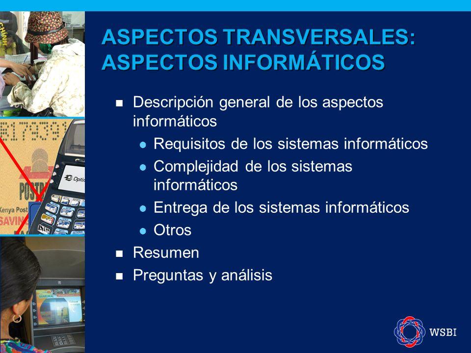ASPECTOS TRANSVERSALES: ASPECTOS INFORMÁTICOS Descripción general de los aspectos informáticos Requisitos de los sistemas informáticos Complejidad de