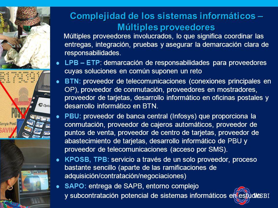 Complejidad de los sistemas informáticos – Múltiples proveedores Múltiples proveedores involucrados, lo que significa coordinar las entregas, integrac