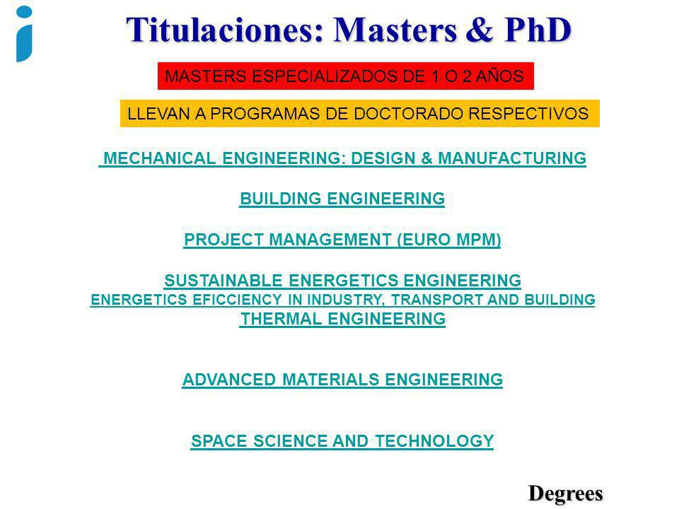 Titulaciones: Masters & PhD Degrees MECHANICAL ENGINEERING: DESIGN & MANUFACTURING BUILDING ENGINEERING PROJECT MANAGEMENT (EURO MPM) SUSTAINABLE ENER