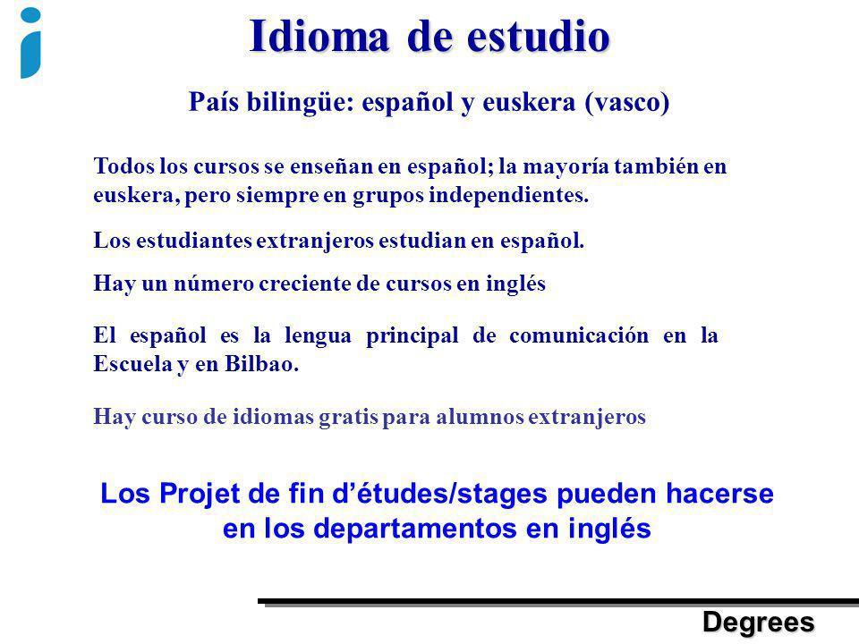 Idioma de estudio País bilingüe: español y euskera (vasco) Todos los cursos se enseñan en español; la mayoría también en euskera, pero siempre en grup