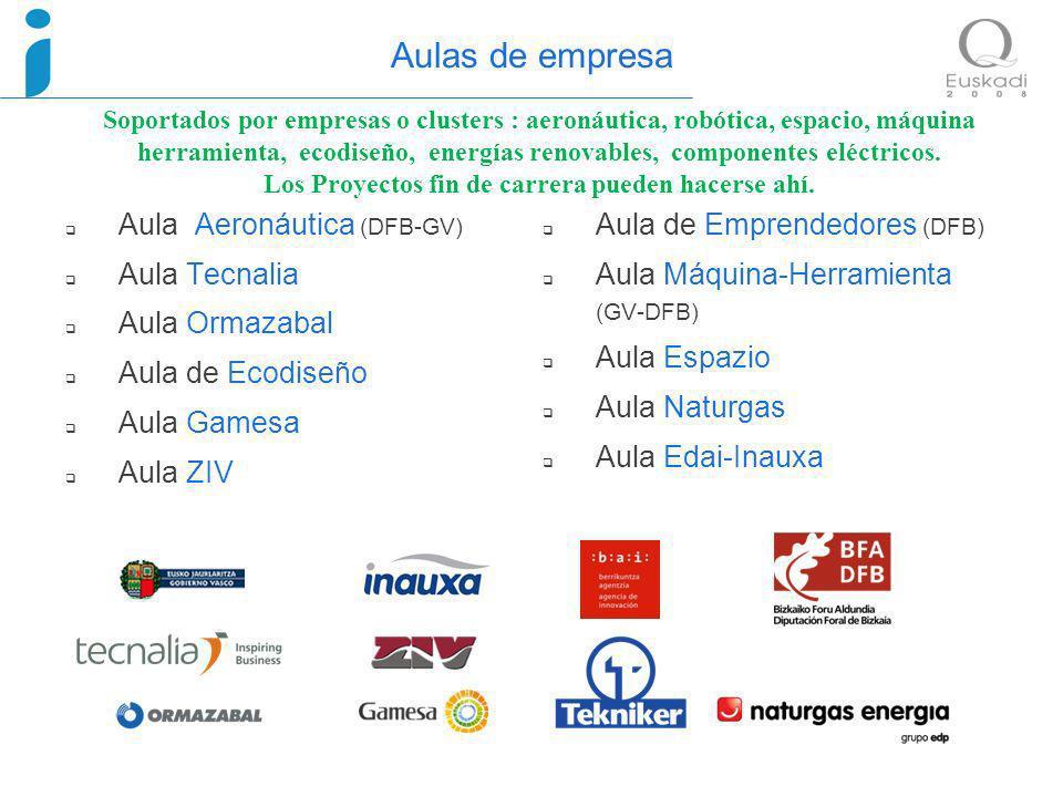 Aulas de empresa Soportados por empresas o clusters : aeronáutica, robótica, espacio, máquina herramienta, ecodiseño, energías renovables, componentes