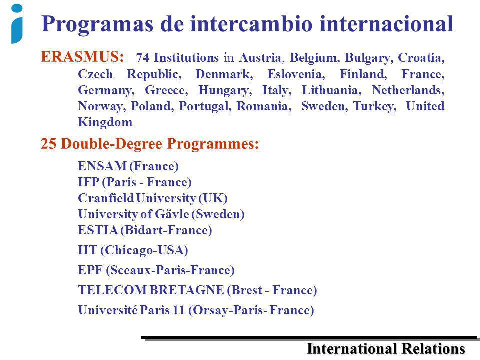 Programas de intercambio internacional International Relations ERASMUS: 74 Institutions in Austria, Belgium, Bulgary, Croatia, Czech Republic, Denmark