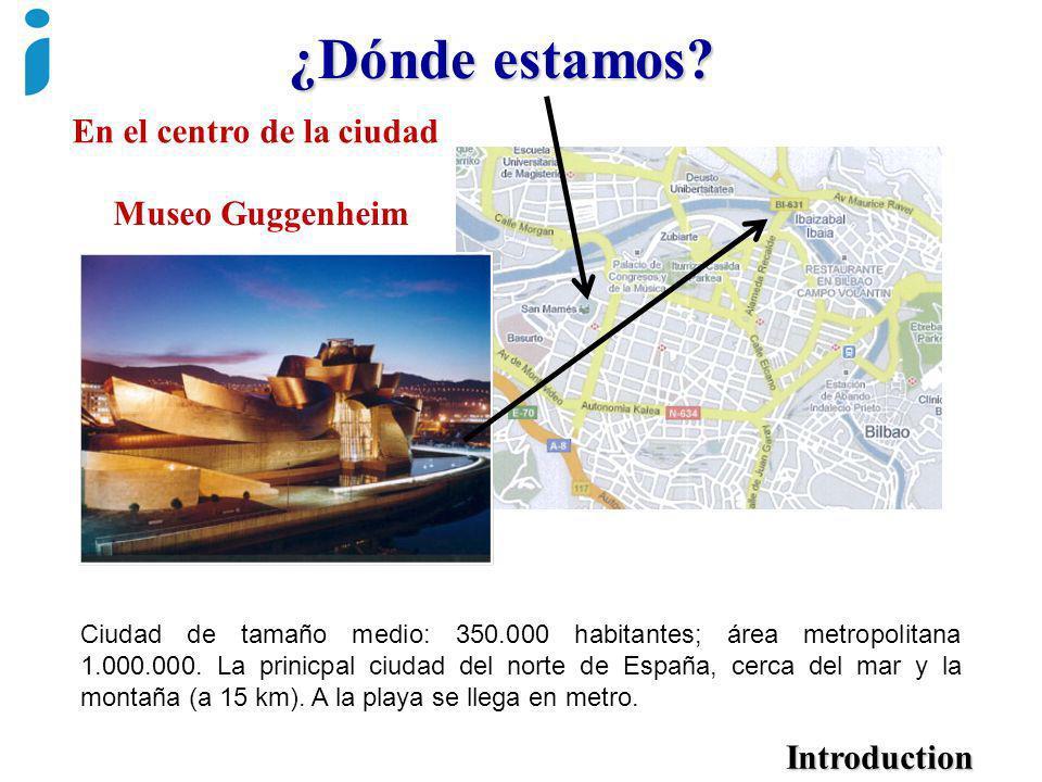 Introduction Museo Guggenheim En el centro de la ciudad Ciudad de tamaño medio: 350.000 habitantes; área metropolitana 1.000.000. La prinicpal ciudad