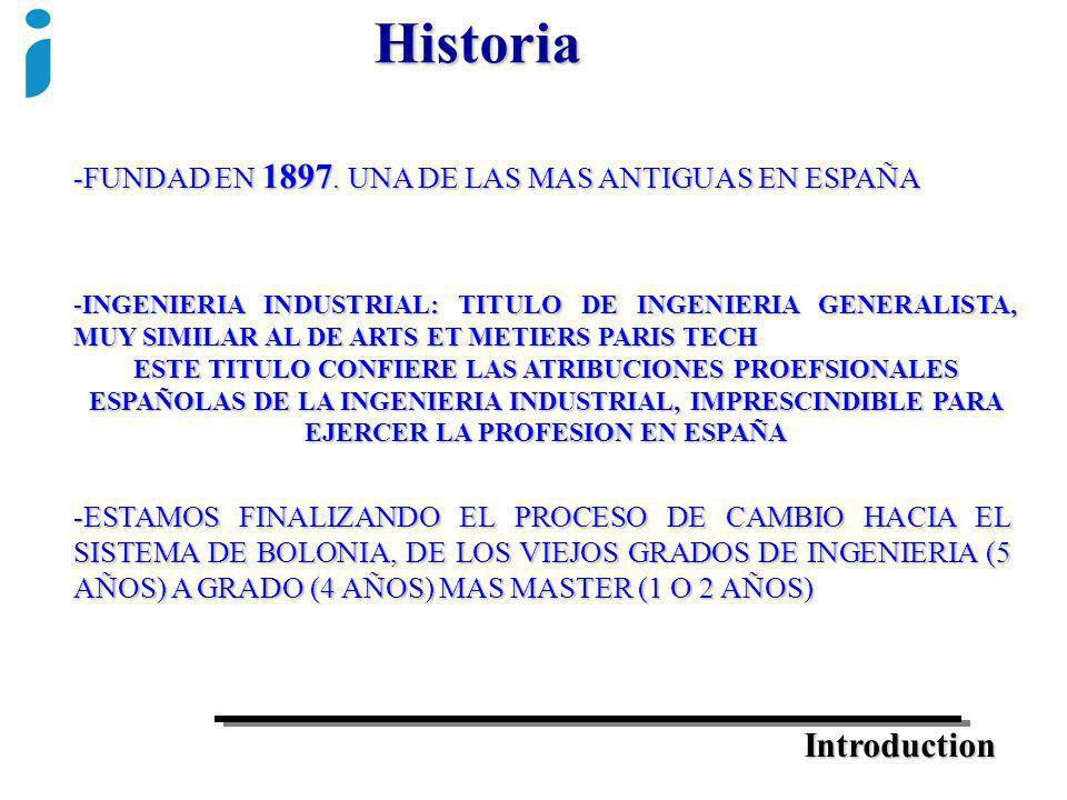 Introduction Historia -FUNDAD EN 1897. UNA DE LAS MAS ANTIGUAS EN ESPAÑA -ESTAMOS FINALIZANDO EL PROCESO DE CAMBIO HACIA EL SISTEMA DE BOLONIA, DE LOS