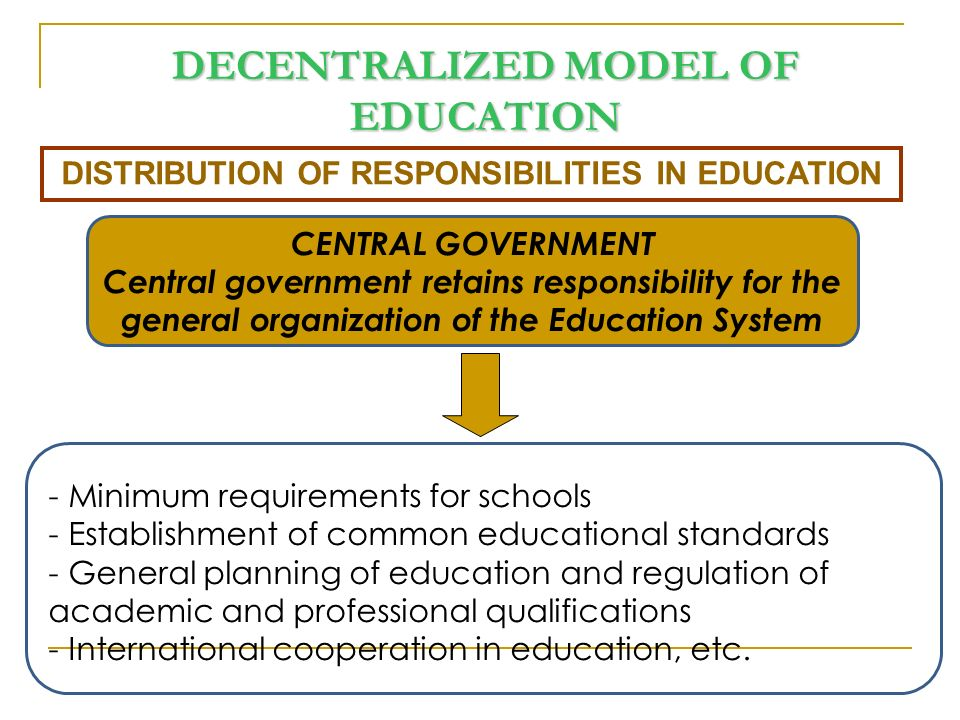 AUTONOMOUS REGIONS - Administrative responsibility within their territories - Creation and authorization of institutions - Staff management - Curriculum development - Student guidance and support - Financial support and aids, etc.