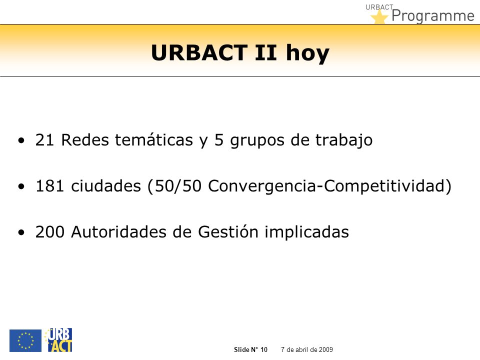 7 de abril de 2009 Slide N° 10 URBACT II hoy 21 Redes temáticas y 5 grupos de trabajo 181 ciudades (50/50 Convergencia-Competitividad) 200 Autoridades
