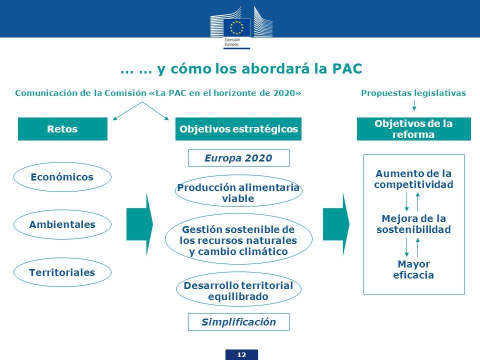 12 … … y cómo los abordará la PAC Retos Ambientales Económicos Territoriales Comunicación de la Comisión «La PAC en el horizonte de 2020» Europa 2020