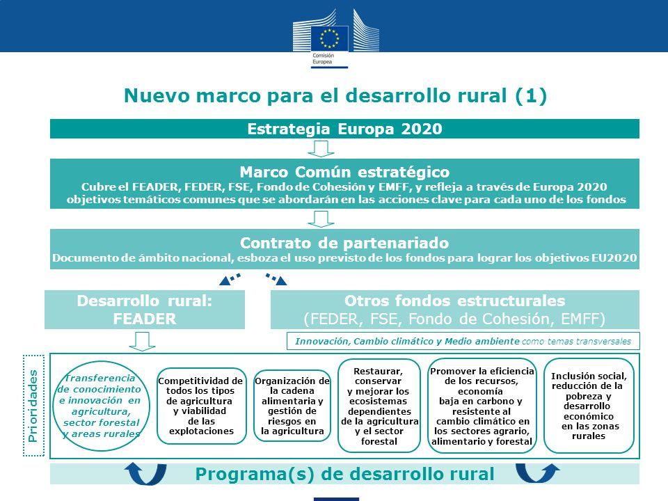 19 Programa(s) de desarrollo rural Nuevo marco para el desarrollo rural (1) Marco Común estratégico Cubre el FEADER, FEDER, FSE, Fondo de Cohesión y E