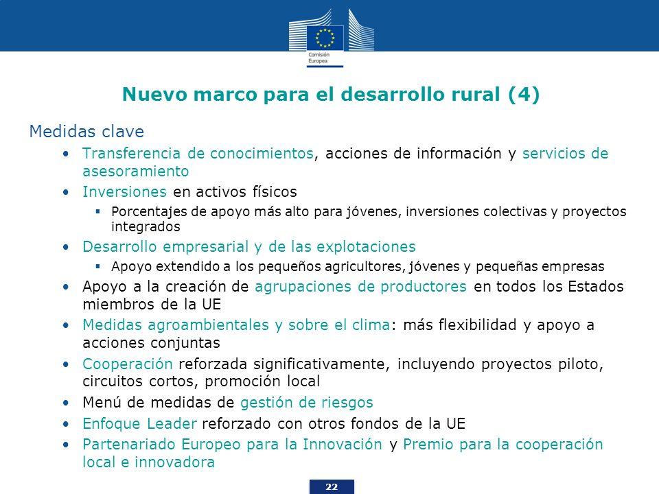 22 Nuevo marco para el desarrollo rural (4) Medidas clave Transferencia de conocimientos, acciones de información y servicios de asesoramiento Inversi