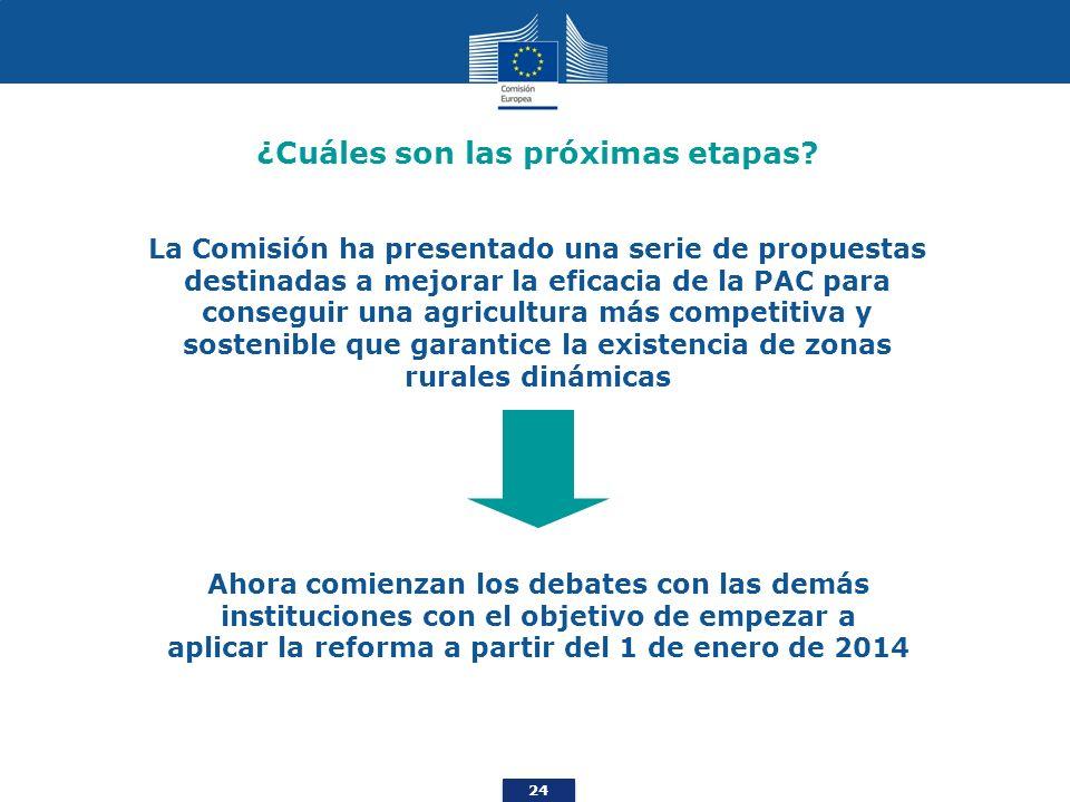 24 ¿Cuáles son las próximas etapas? La Comisión ha presentado una serie de propuestas destinadas a mejorar la eficacia de la PAC para conseguir una ag