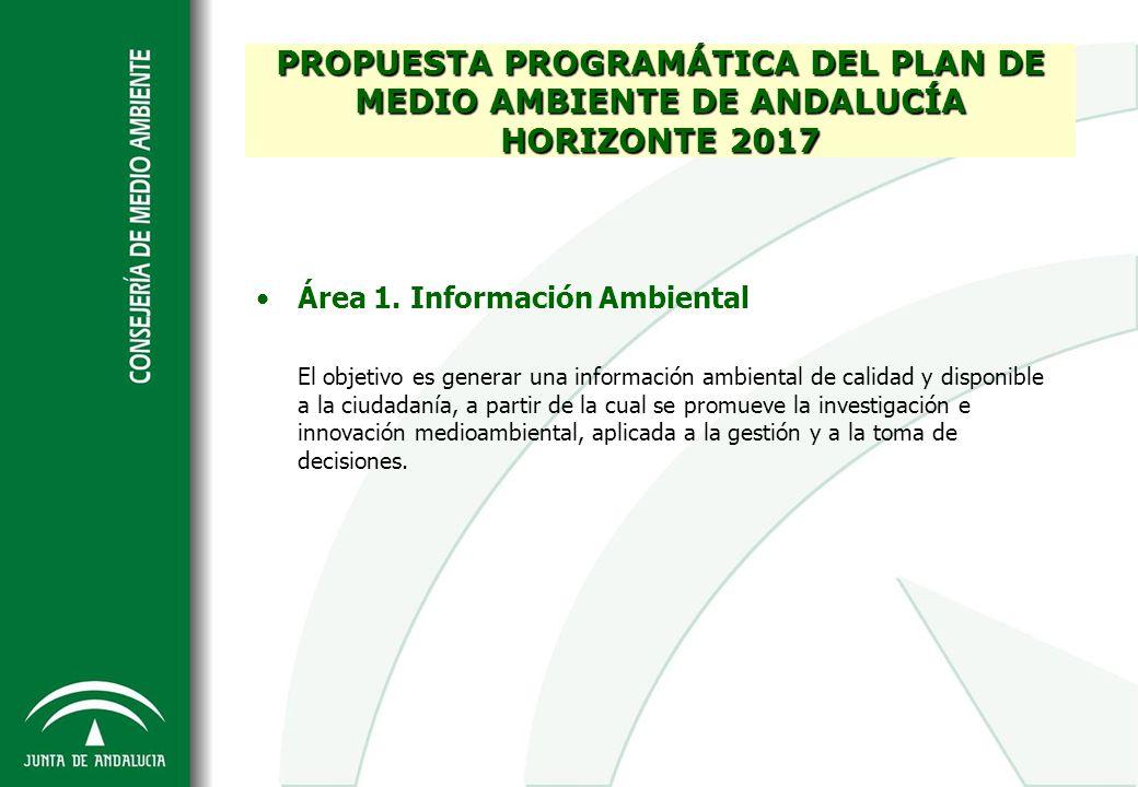Área 1. Información Ambiental El objetivo es generar una información ambiental de calidad y disponible a la ciudadanía, a partir de la cual se promuev