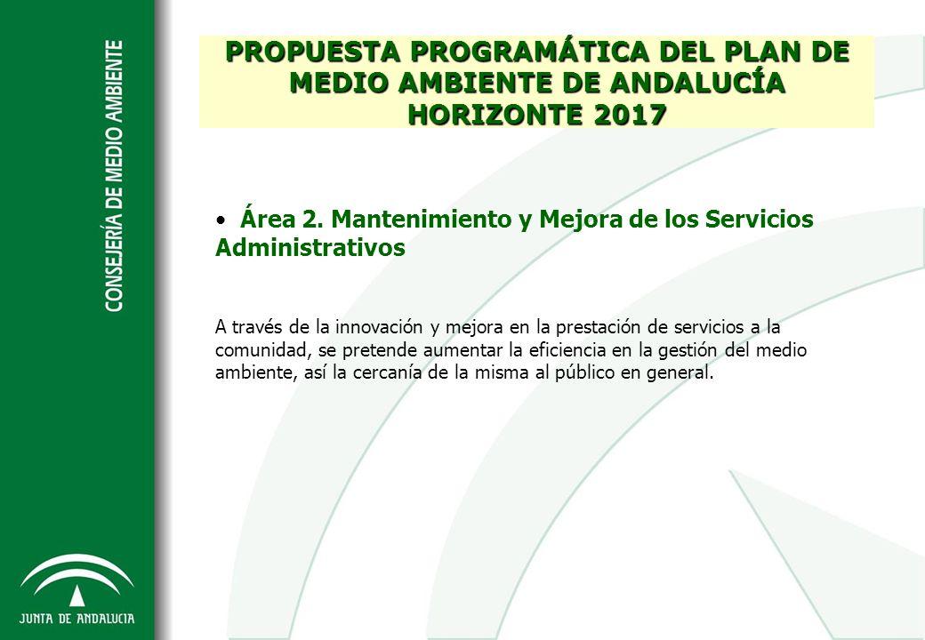 Área 2. Mantenimiento y Mejora de los Servicios Administrativos A través de la innovación y mejora en la prestación de servicios a la comunidad, se pr