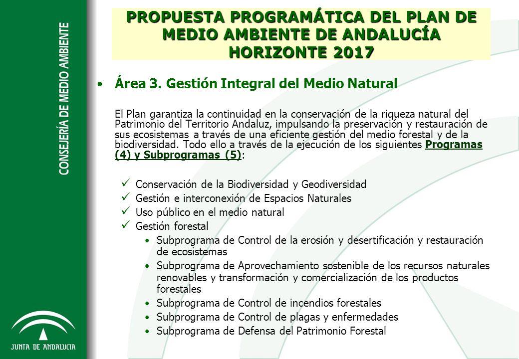 Área 3. Gestión Integral del Medio Natural El Plan garantiza la continuidad en la conservación de la riqueza natural del Patrimonio del Territorio And