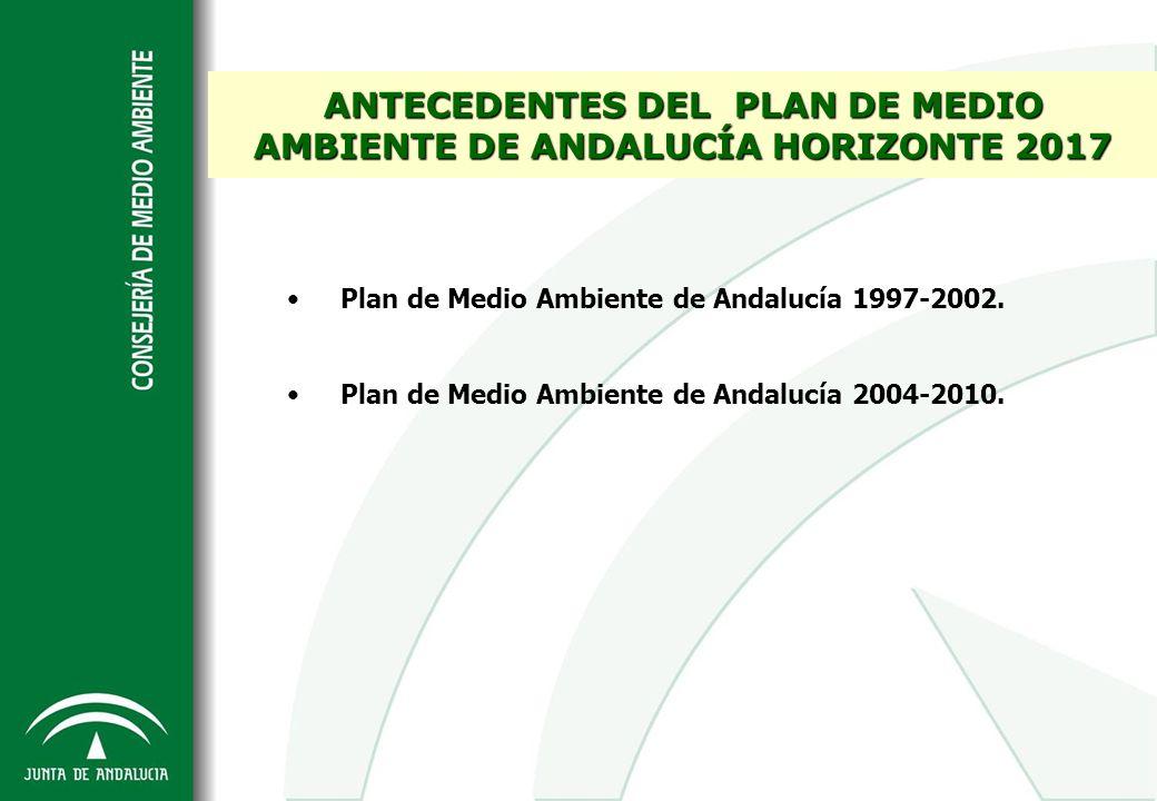 ANTECEDENTES DEL PLAN DE MEDIO AMBIENTE DE ANDALUCÍA HORIZONTE 2017 Plan de Medio Ambiente de Andalucía 1997-2002. Plan de Medio Ambiente de Andalucía