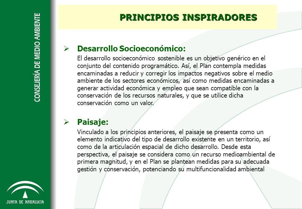 Desarrollo Socioeconómico: El desarrollo socioeconómico sostenible es un objetivo genérico en el conjunto del contenido programático. Así, el Plan con