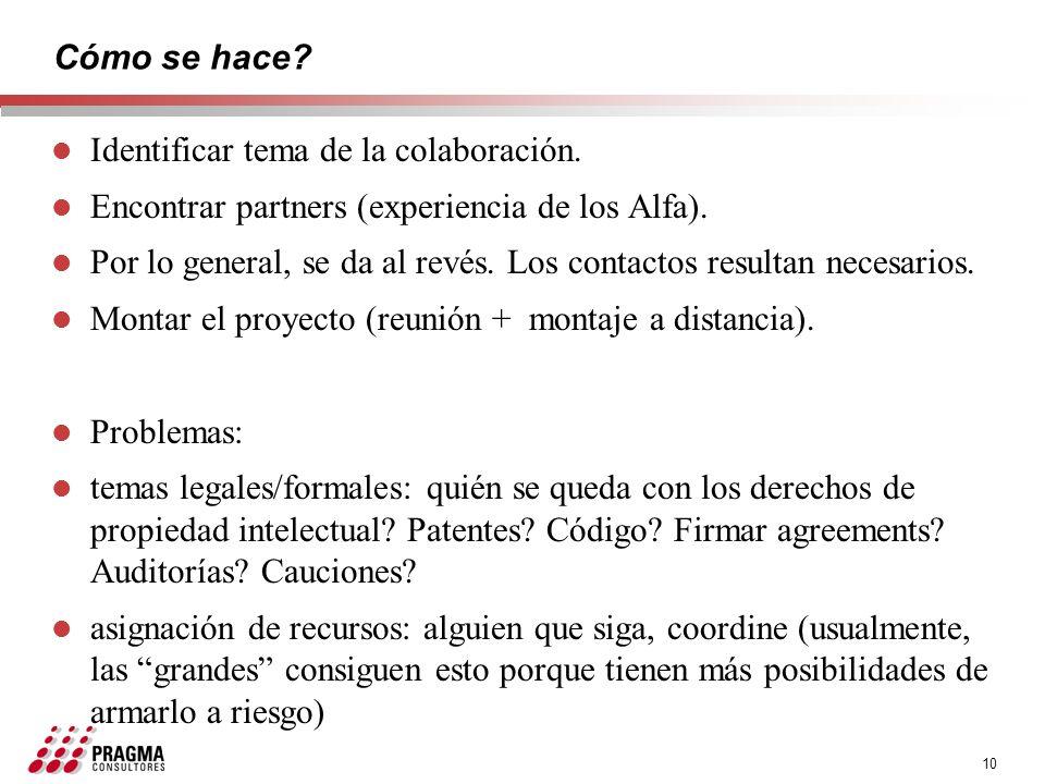 10 Cómo se hace? l Identificar tema de la colaboración. l Encontrar partners (experiencia de los Alfa). l Por lo general, se da al revés. Los contacto