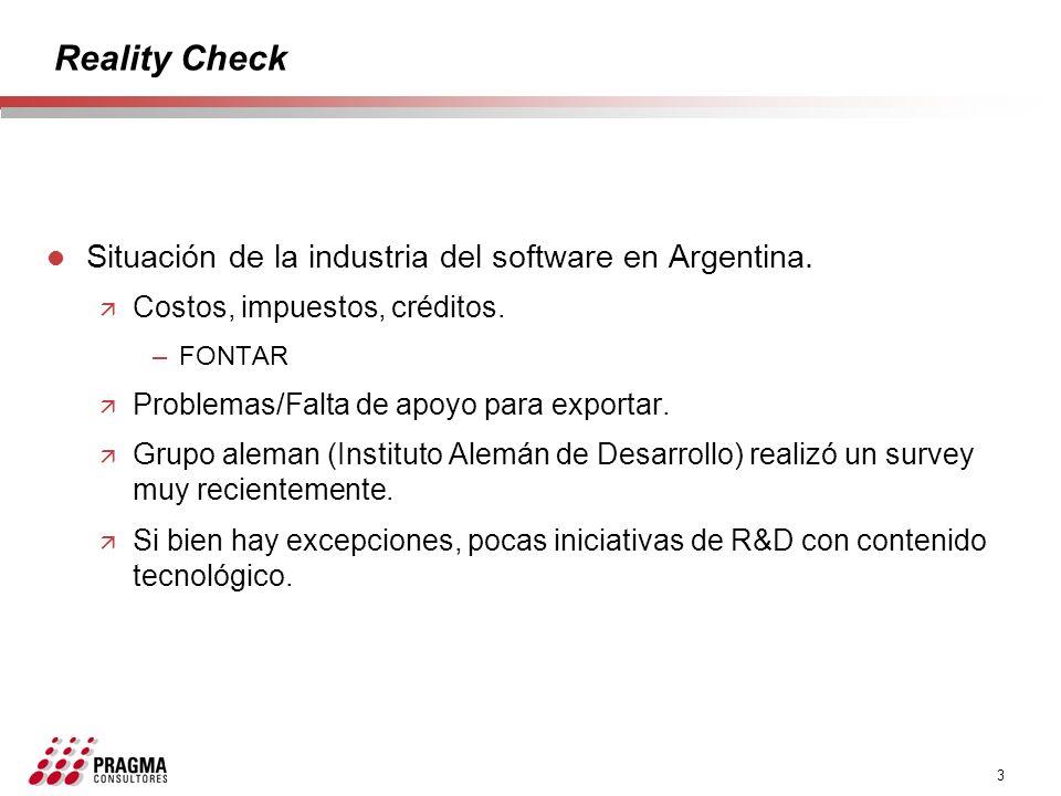 3 Reality Check l Situación de la industria del software en Argentina. ä Costos, impuestos, créditos. –FONTAR ä Problemas/Falta de apoyo para exportar