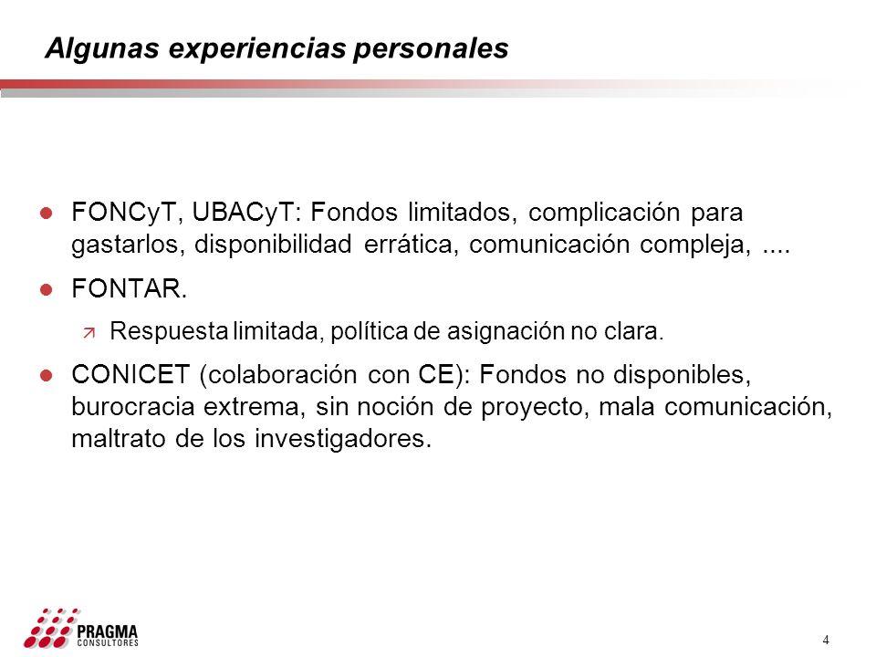 4 Algunas experiencias personales l FONCyT, UBACyT: Fondos limitados, complicación para gastarlos, disponibilidad errática, comunicación compleja,....