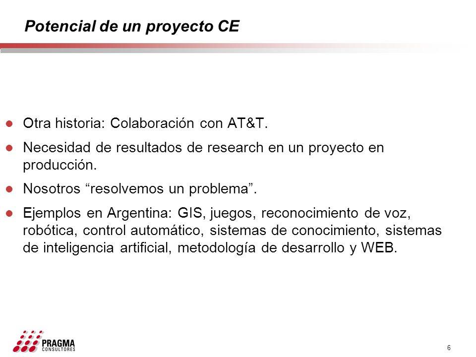 6 Potencial de un proyecto CE l Otra historia: Colaboración con AT&T. l Necesidad de resultados de research en un proyecto en producción. l Nosotros r
