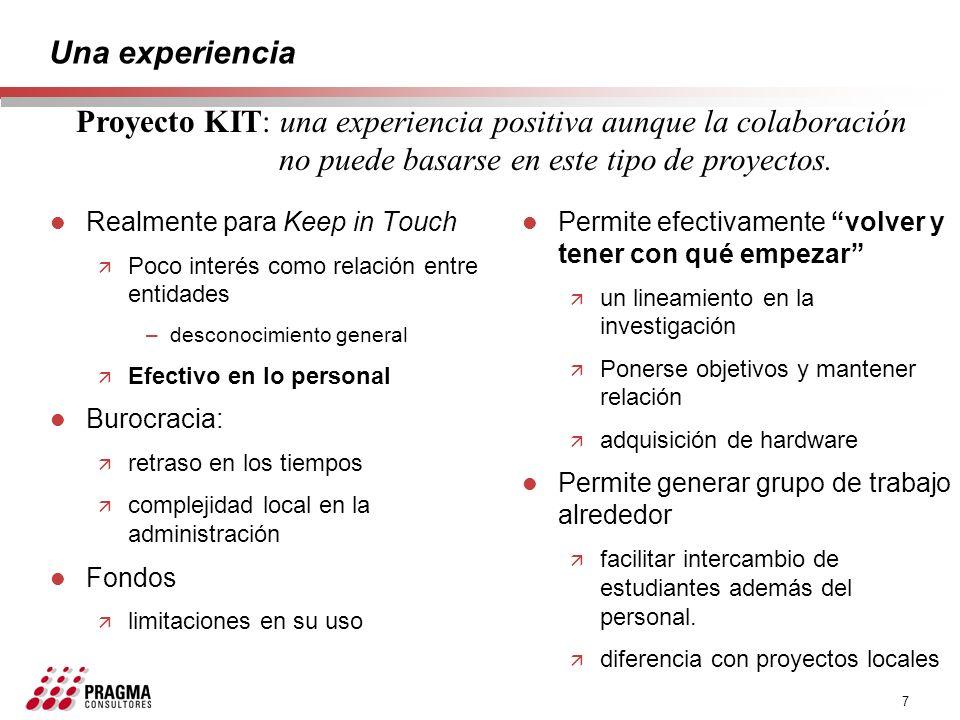 7 Una experiencia l Realmente para Keep in Touch ä Poco interés como relación entre entidades –desconocimiento general ä Efectivo en lo personal l Bur