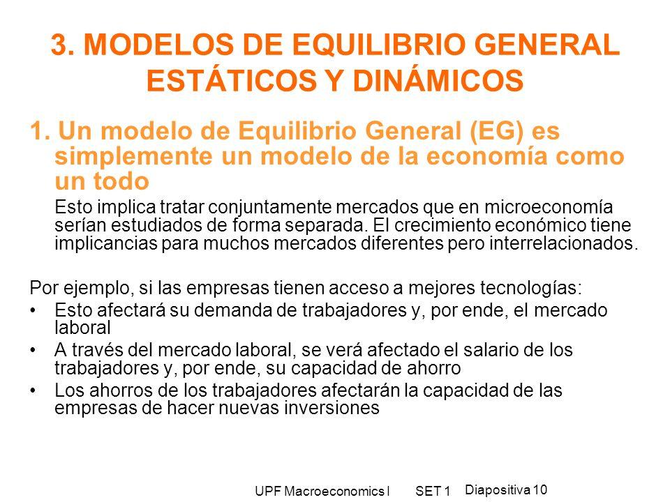 UPF Macroeconomics I SET 1 Diapositiva 10 3. MODELOS DE EQUILIBRIO GENERAL ESTÁTICOS Y DINÁMICOS 1. Un modelo de Equilibrio General (EG) es simplement