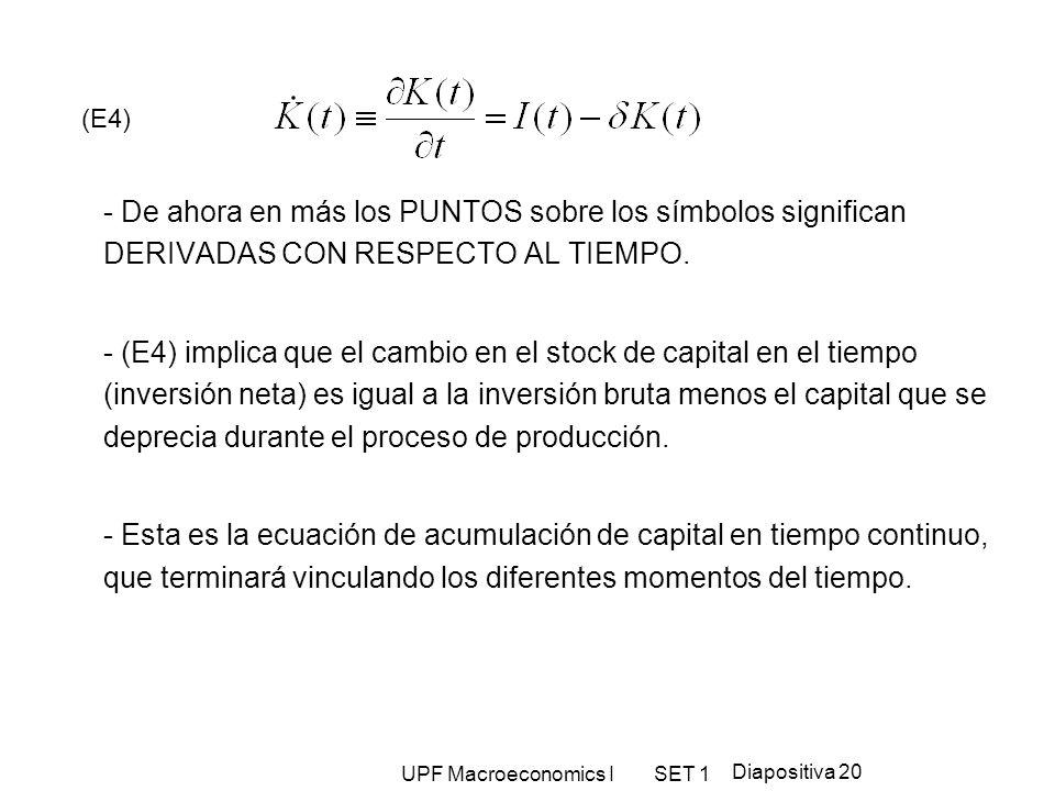 UPF Macroeconomics I SET 1 Diapositiva 20 (E4) - De ahora en más los PUNTOS sobre los símbolos significan DERIVADAS CON RESPECTO AL TIEMPO. - (E4) imp