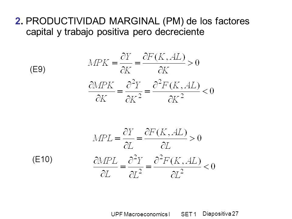 UPF Macroeconomics I SET 1 Diapositiva 27 2. PRODUCTIVIDAD MARGINAL (PM) de los factores capital y trabajo positiva pero decreciente (E9) (E10)