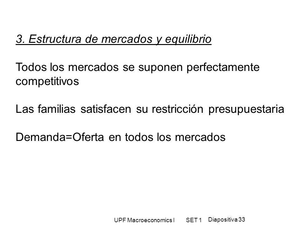 UPF Macroeconomics I SET 1 Diapositiva 33 3. Estructura de mercados y equilibrio Todos los mercados se suponen perfectamente competitivos Las familias