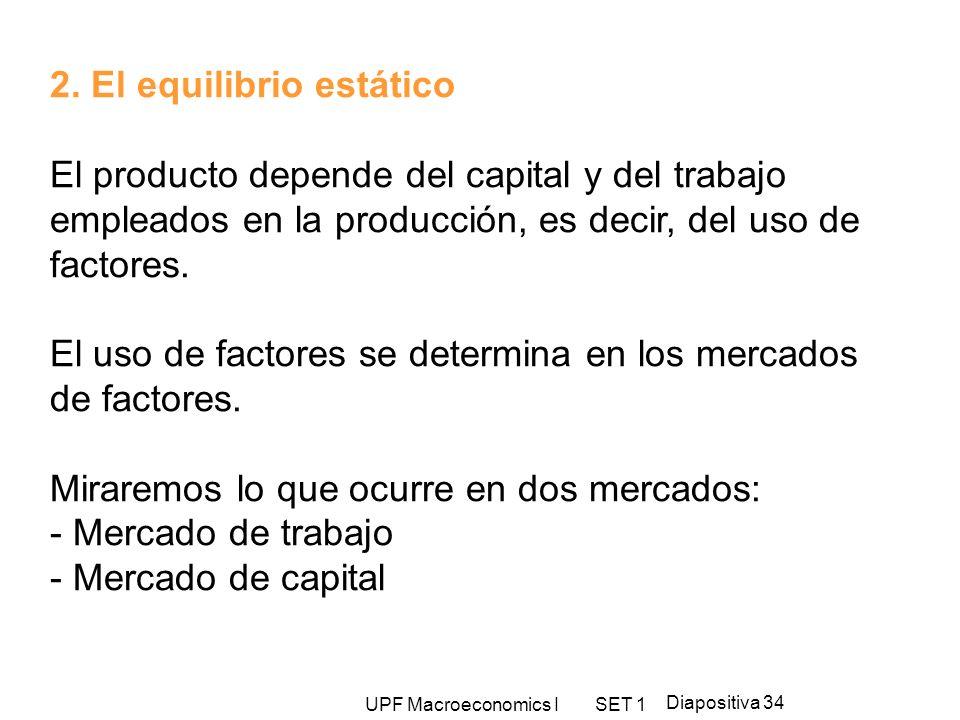 UPF Macroeconomics I SET 1 Diapositiva 34 2. El equilibrio estático El producto depende del capital y del trabajo empleados en la producción, es decir