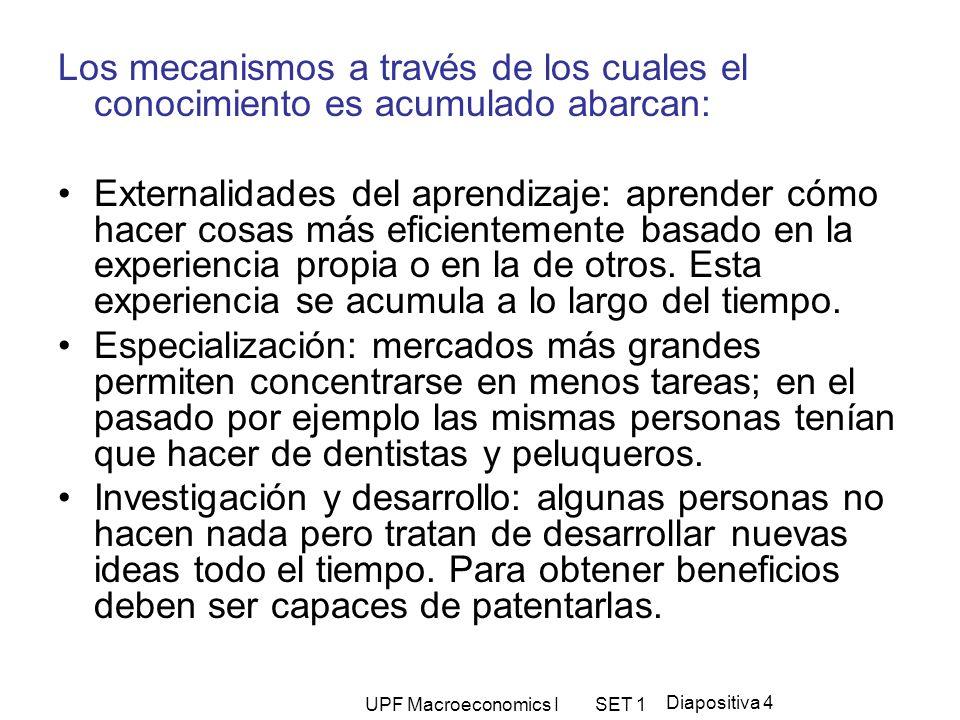 UPF Macroeconomics I SET 1 Diapositiva 4 Los mecanismos a través de los cuales el conocimiento es acumulado abarcan: Externalidades del aprendizaje: a