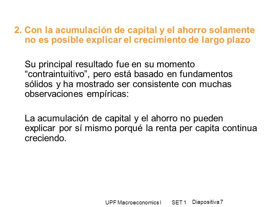 UPF Macroeconomics I SET 1 Diapositiva 7 2. Con la acumulación de capital y el ahorro solamente no es posible explicar el crecimiento de largo plazo S