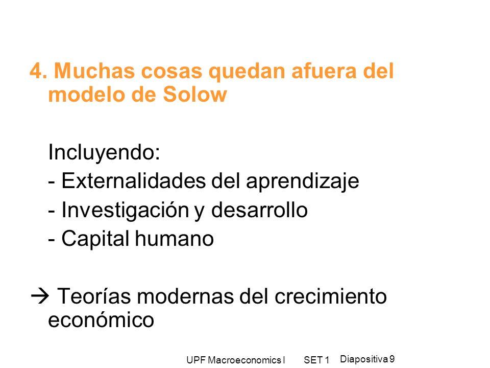 UPF Macroeconomics I SET 1 Diapositiva 9 4. Muchas cosas quedan afuera del modelo de Solow Incluyendo: - Externalidades del aprendizaje - Investigació
