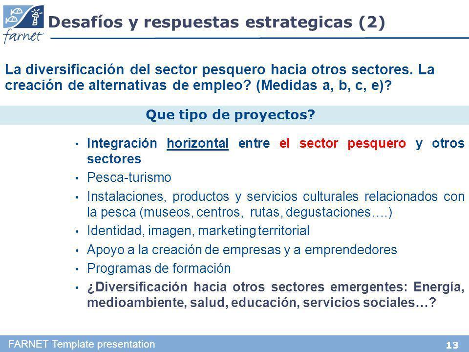 13 Desafíos y respuestas estrategicas (2) FARNET Template presentation Integración horizontal entre el sector pesquero y otros sectores Pesca-turismo