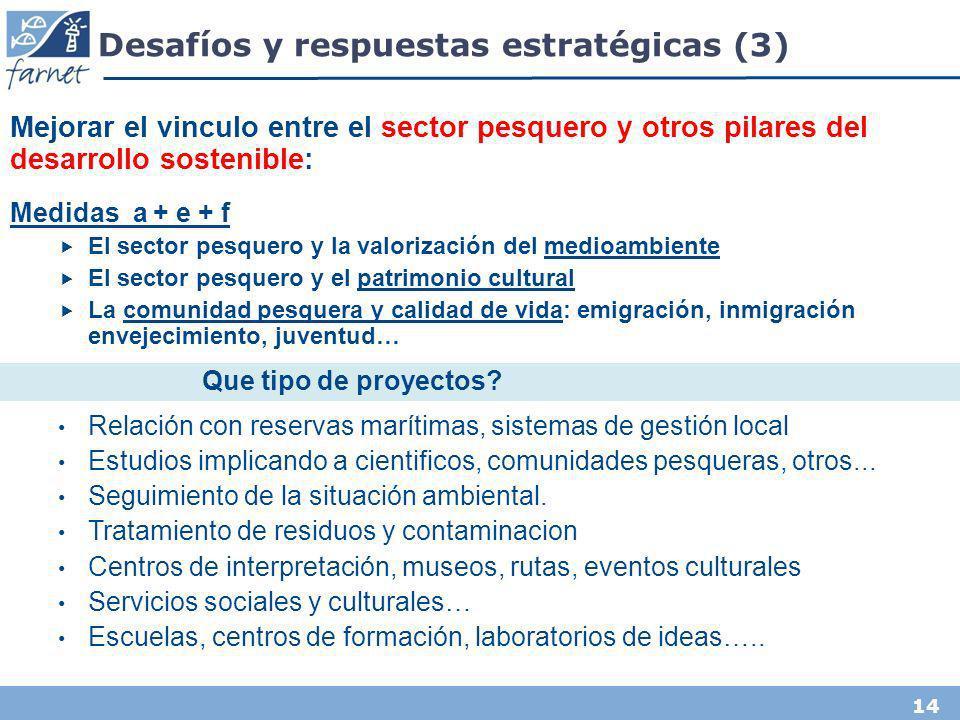 14 Desafíos y respuestas estratégicas (3) Mejorar el vinculo entre el sector pesquero y otros pilares del desarrollo sostenible: Medidas a + e + f El