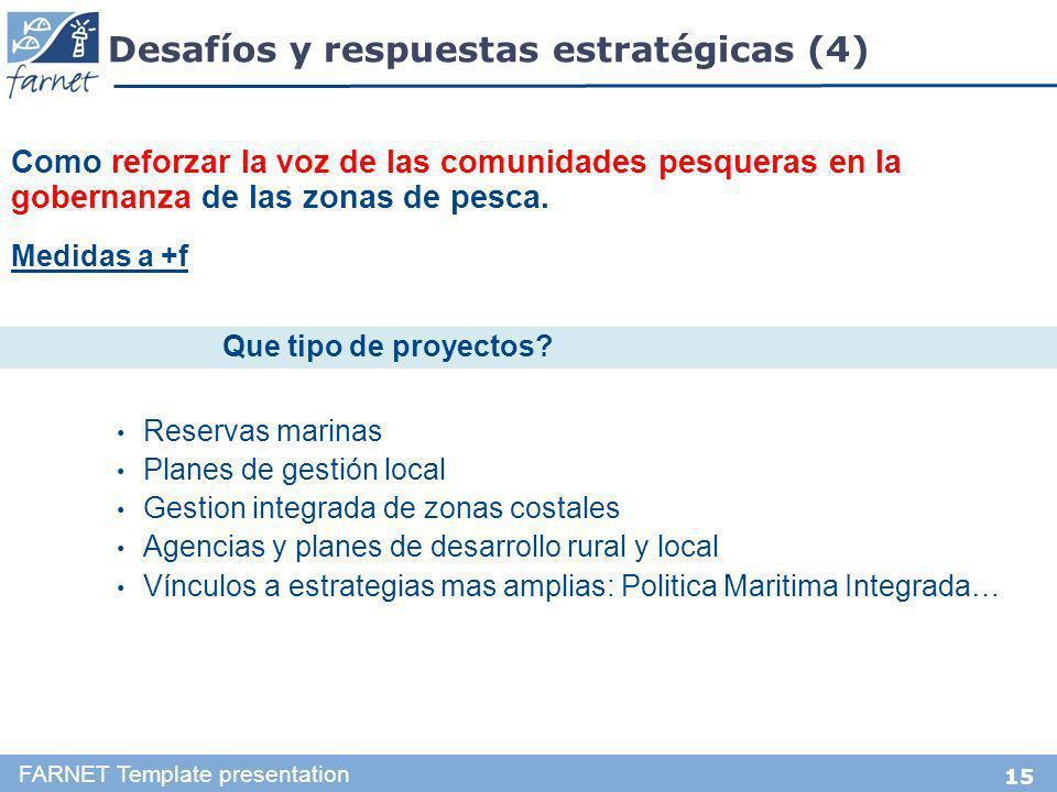 15 Desafíos y respuestas estratégicas (4) FARNET Template presentation Como reforzar la voz de las comunidades pesqueras en la gobernanza de las zonas de pesca.