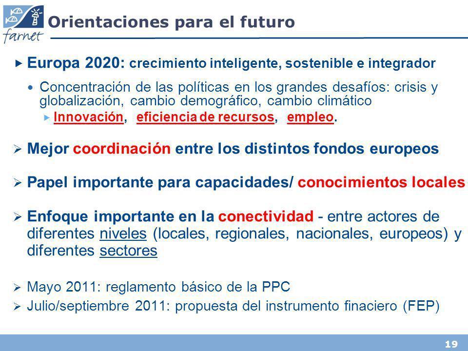 19 Orientaciones para el futuro Europa 2020: crecimiento inteligente, sostenible e integrador Concentración de las políticas en los grandes desafíos: crisis y globalización, cambio demográfico, cambio climático Innovación, eficiencia de recursos, empleo.